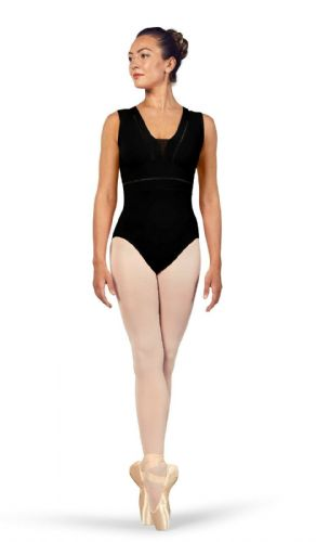 BLOCH Ladies Dance V Neckline Tank Leotard Mesh Back Zahra L4912 Black